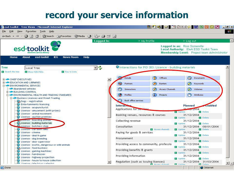 record your service information
