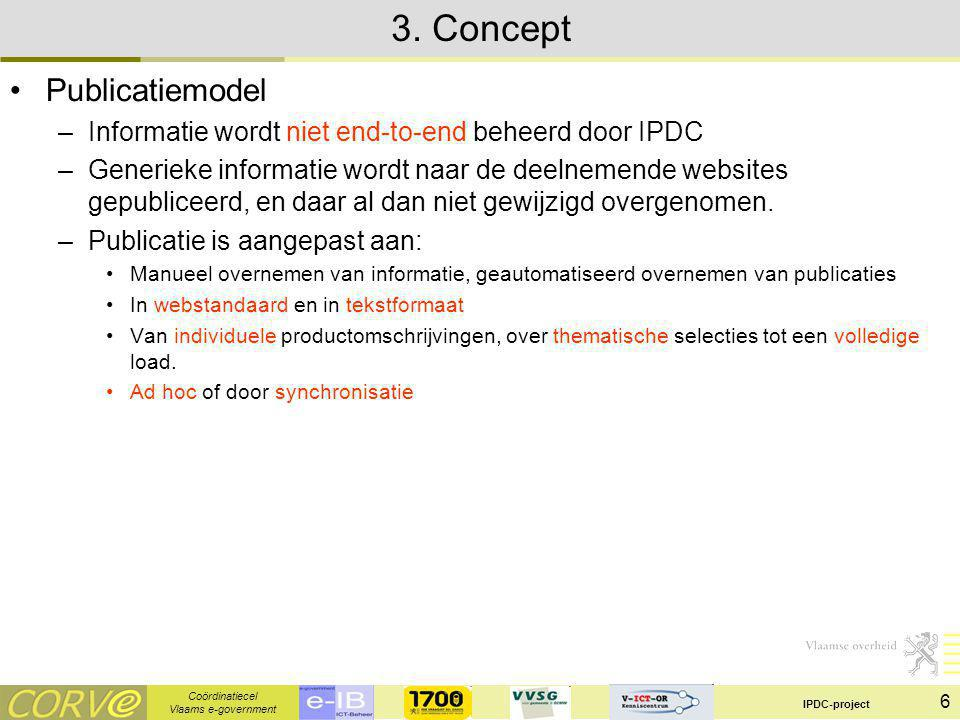 Coördinatiecel Vlaams e-government IPDC-project 7 3.