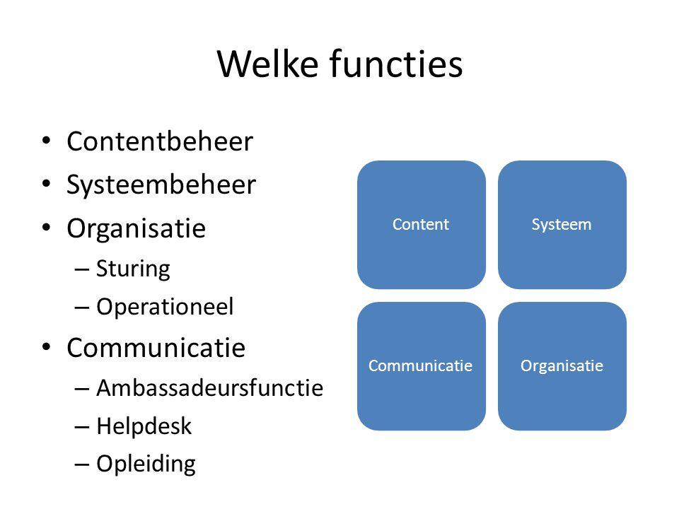 Welke functies Contentbeheer Systeembeheer Organisatie – Sturing – Operationeel Communicatie – Ambassadeursfunctie – Helpdesk – Opleiding ContentSyste
