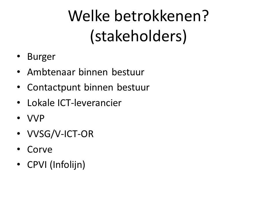 Welke betrokkenen? (stakeholders) Burger Ambtenaar binnen bestuur Contactpunt binnen bestuur Lokale ICT-leverancier VVP VVSG/V-ICT-OR Corve CPVI (Info