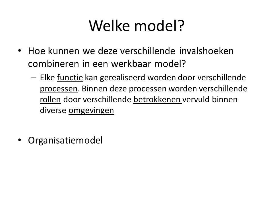 Welke model? Hoe kunnen we deze verschillende invalshoeken combineren in een werkbaar model? – Elke functie kan gerealiseerd worden door verschillende