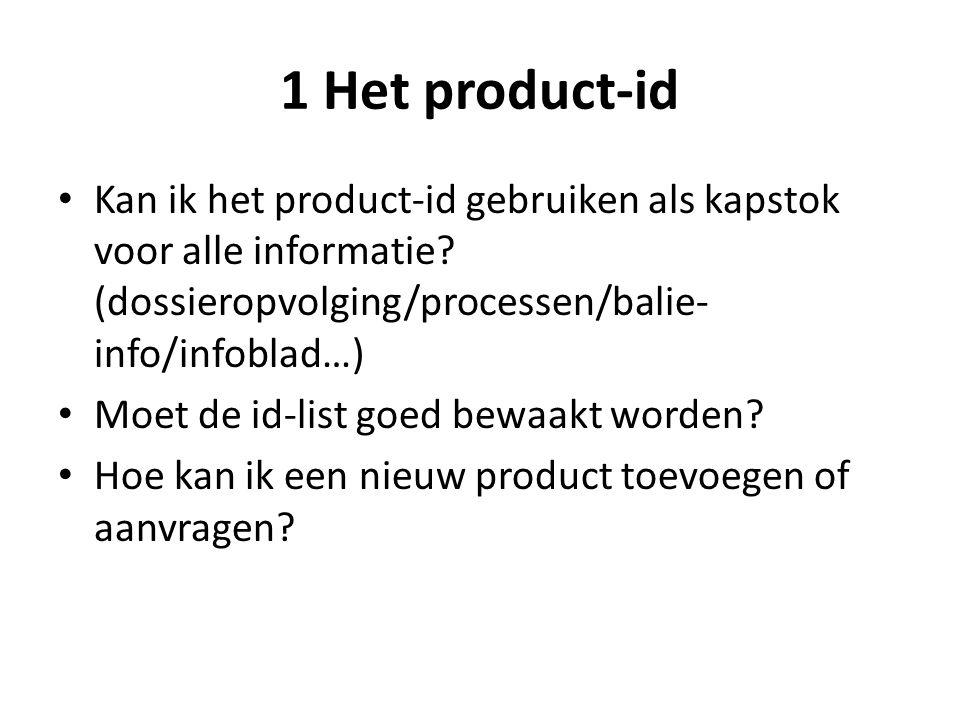 1 Het product-id Kan ik het product-id gebruiken als kapstok voor alle informatie? (dossieropvolging/processen/balie- info/infoblad…) Moet de id-list