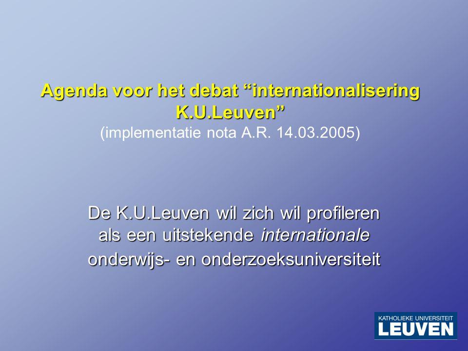 Agenda voor het debat internationalisering K.U.Leuven Agenda voor het debat internationalisering K.U.Leuven (implementatie nota A.R.