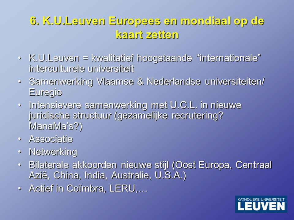 """6. K.U.Leuven Europees en mondiaal op de kaart zetten K.U.Leuven = kwalitatief hoogstaande """"internationale"""" interculturele universiteitK.U.Leuven = kw"""