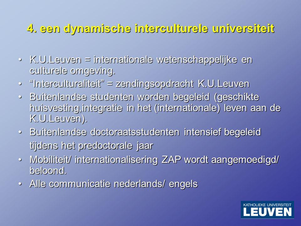 4. een dynamische interculturele universiteit K.U.Leuven = internationale wetenschappelijke en culturele omgeving.K.U.Leuven = internationale wetensch