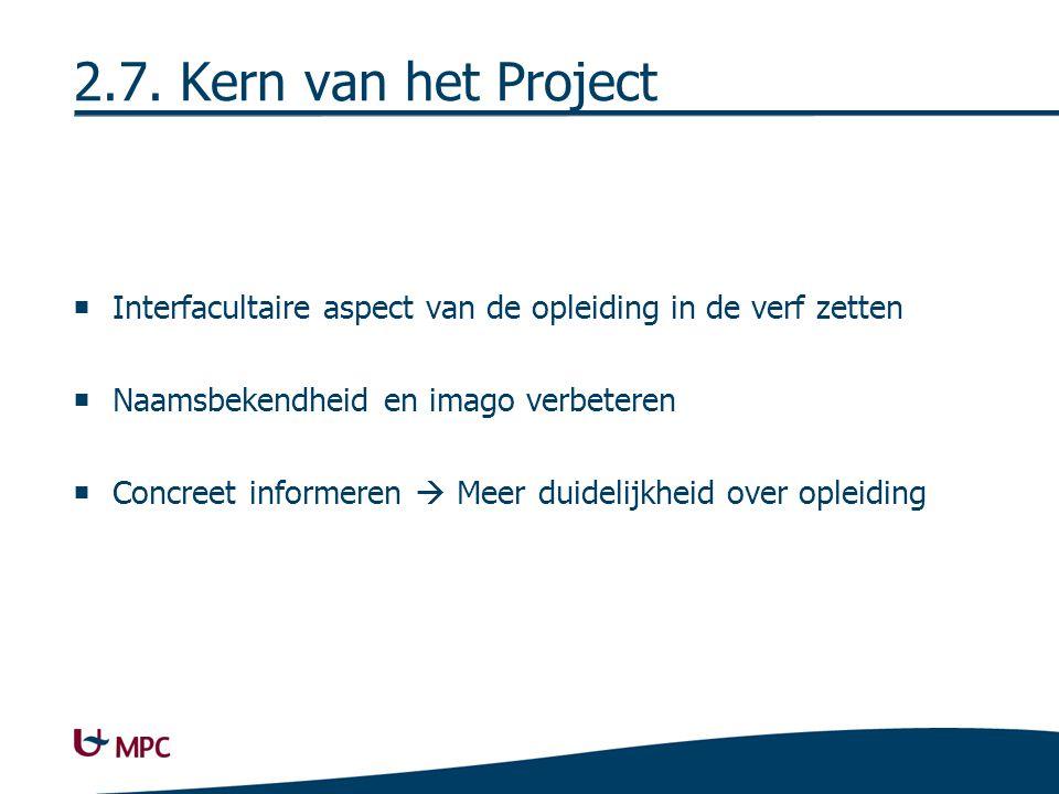 2.7. Kern van het Project  Interfacultaire aspect van de opleiding in de verf zetten  Naamsbekendheid en imago verbeteren  Concreet informeren  Me