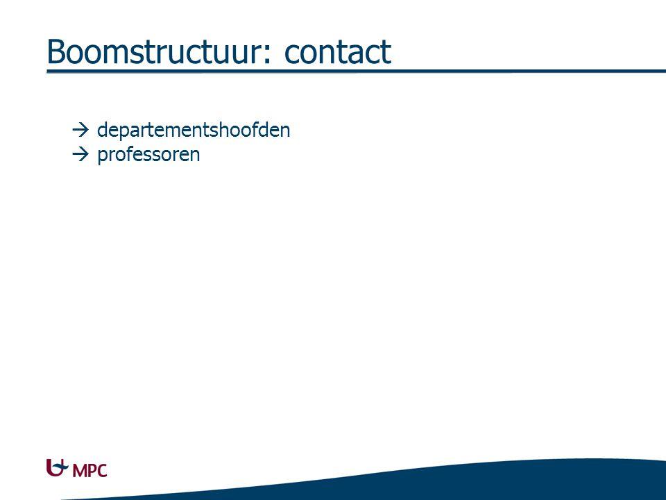 Boomstructuur: contact  departementshoofden  professoren