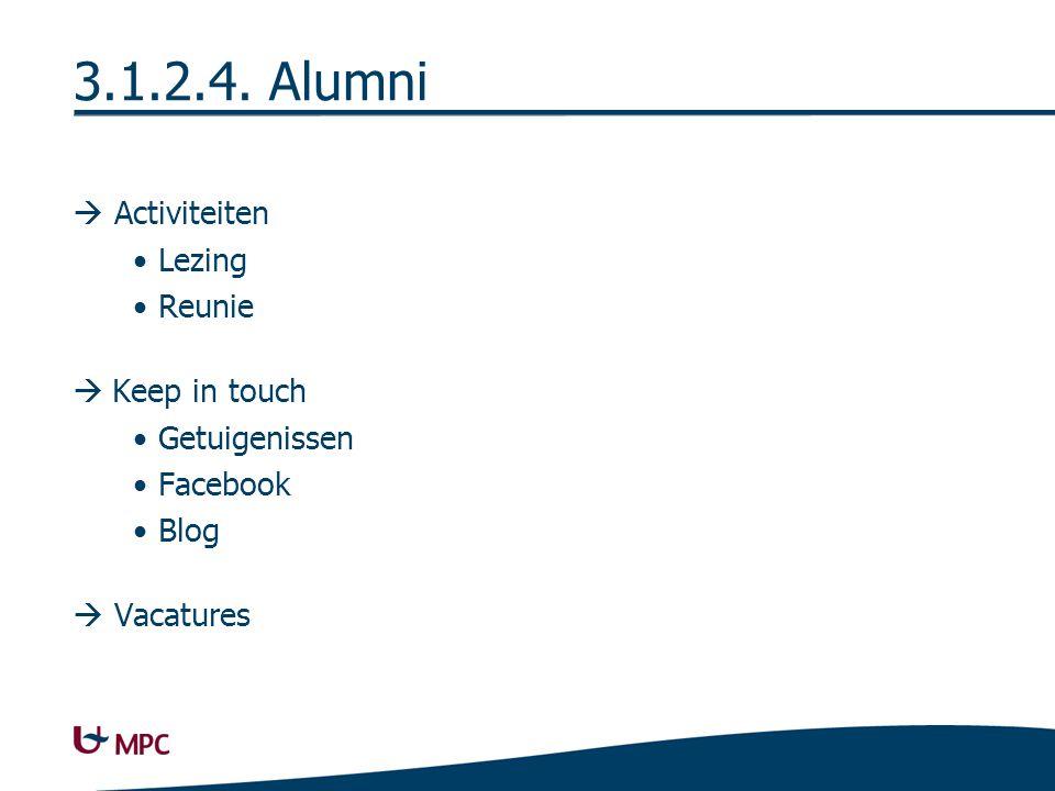 3.1.2.4. Alumni  Activiteiten Lezing Reunie  Keep in touch Getuigenissen Facebook Blog  Vacatures