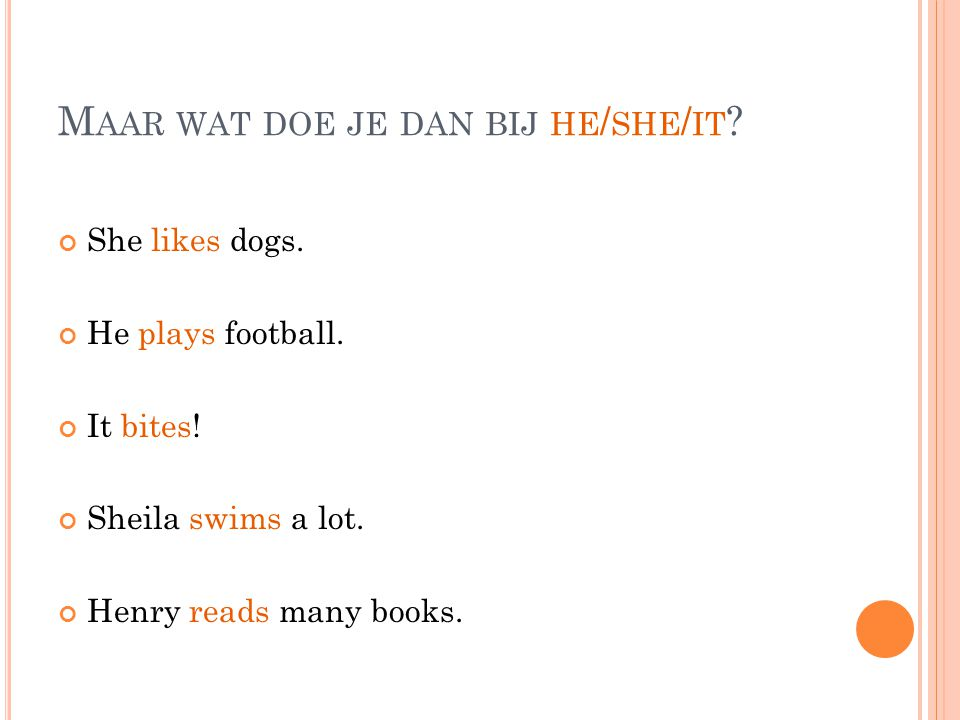 M AAR WAT DOE JE DAN BIJ HE / SHE / IT . She likes dogs.