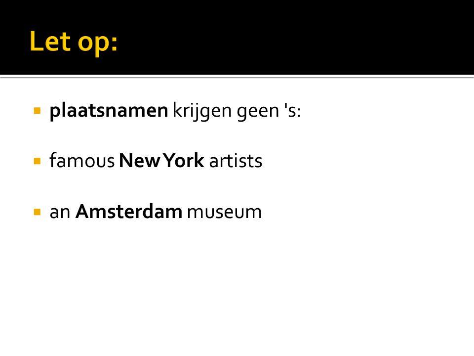  plaatsnamen krijgen geen s:  famous New York artists  an Amsterdam museum