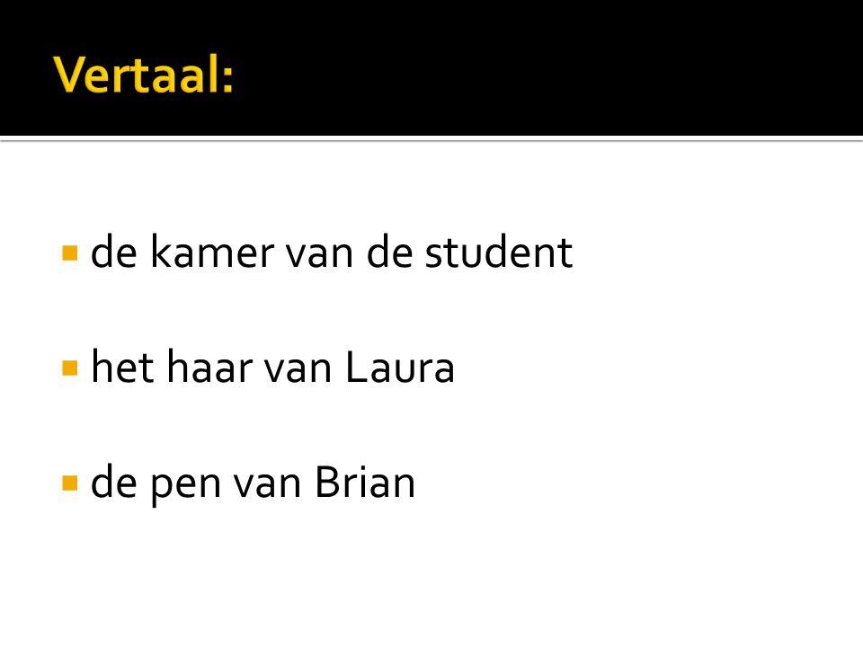  the student s room  Laura s hair  Brian s pen  Je schrijft dus onderwerp + s om bezit aan te geven.