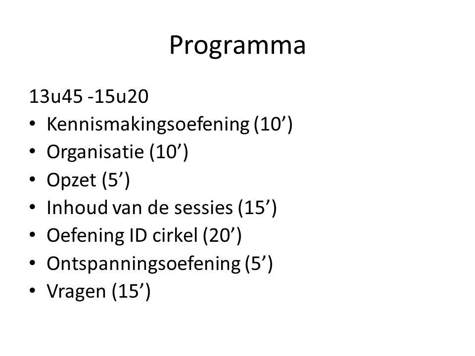 Programma 13u45 -15u20 Kennismakingsoefening (10') Organisatie (10') Opzet (5') Inhoud van de sessies (15') Oefening ID cirkel (20') Ontspanningsoefen