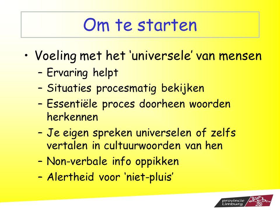 Om te starten Voeling met het 'universele' van mensen –Ervaring helpt –Situaties procesmatig bekijken –Essentiële proces doorheen woorden herkennen –J