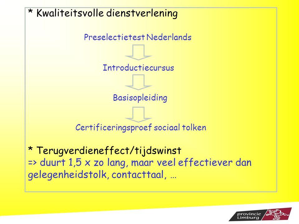 * Kwaliteitsvolle dienstverlening Preselectietest Nederlands Introductiecursus Basisopleiding Certificeringsproef sociaal tolken * Terugverdieneffect/