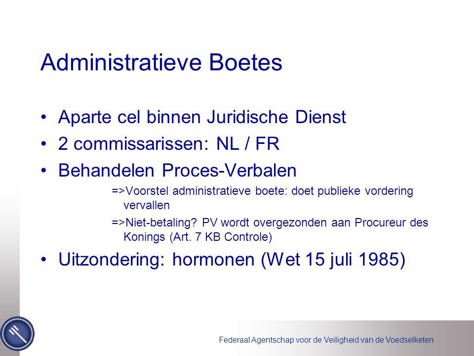 Federaal Agentschap voor de Veiligheid van de Voedselketen Administratieve Boetes Aparte cel binnen Juridische Dienst 2 commissarissen: NL / FR Behand