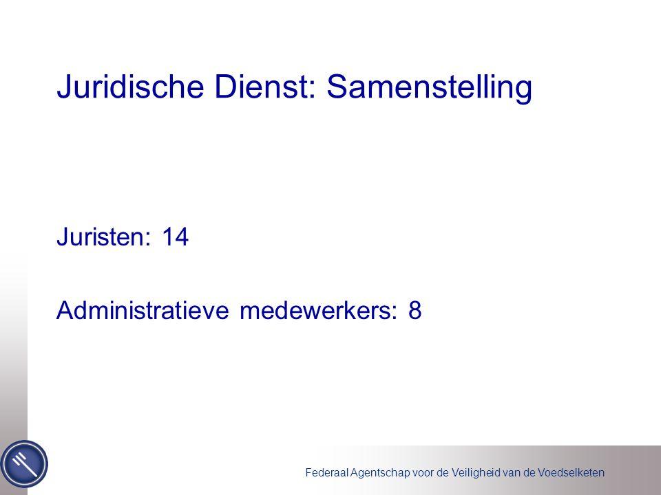 Juridische Dienst: Samenstelling Juristen: 14 Administratieve medewerkers: 8