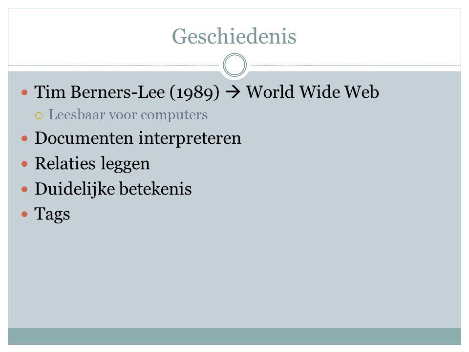 Geschiedenis Tim Berners-Lee (1989)  World Wide Web  Leesbaar voor computers Documenten interpreteren Relaties leggen Duidelijke betekenis Tags