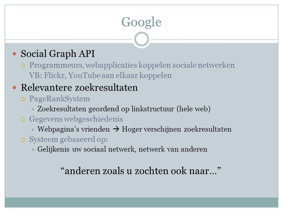 Google Social Graph API  Programmeurs, webapplicaties koppelen sociale netwerken VB: Flickr, YouTube aan elkaar koppelen Relevantere zoekresultaten  PageRankSystem  Zoekresultaten geordend op linkstructuur (hele web)  Gegevens webgeschiedenis  Webpagina's vrienden  Hoger verschijnen zoekresultaten  Systeem gebaseerd op:  Gelijkenis uw sociaal netwerk, netwerk van anderen anderen zoals u zochten ook naar…