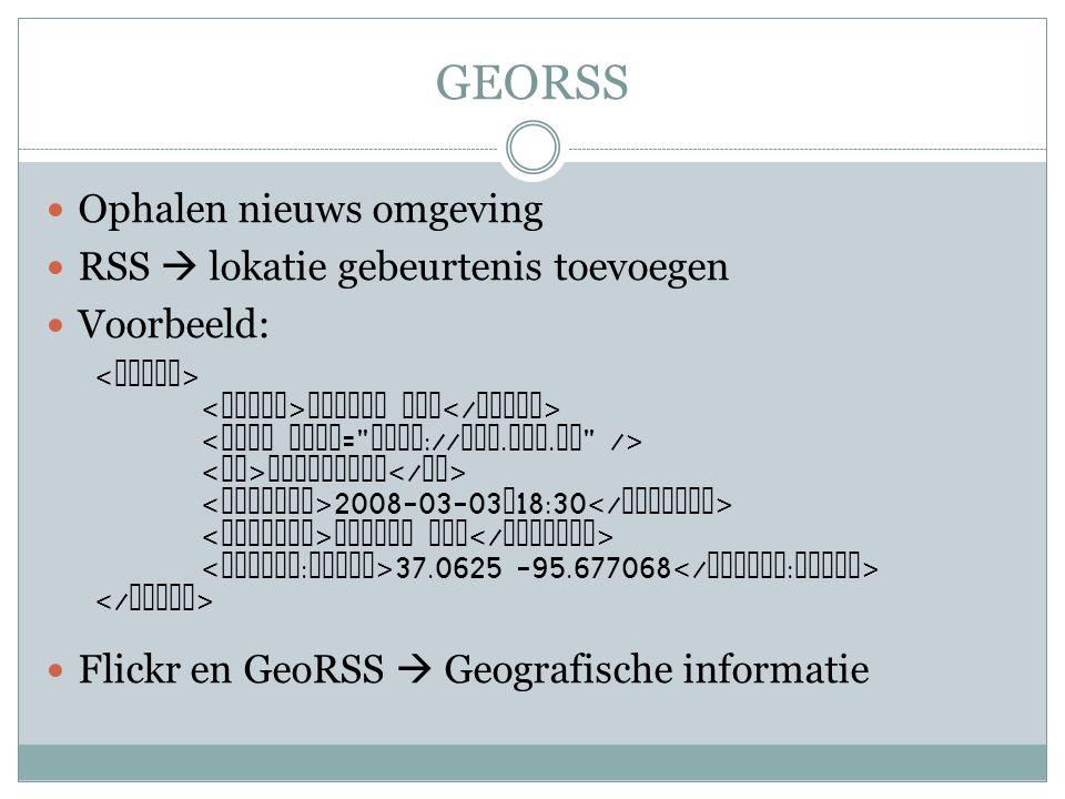 GEORSS Ophalen nieuws omgeving RSS  lokatie gebeurtenis toevoegen Voorbeeld: Flickr en GeoRSS  Geografische informatie Borrel Hub BorrelHUB 2008-03-03 T 18:30 Borrel HUB 37.0625 -95.677068