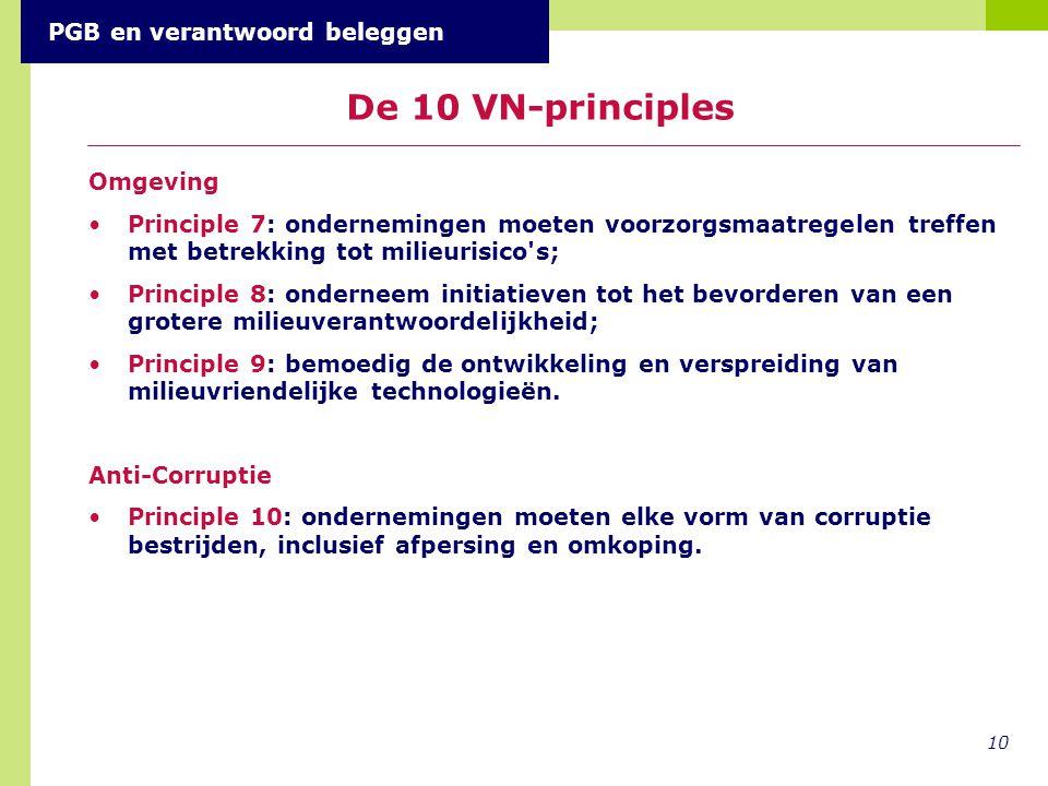 Omgeving Principle 7: ondernemingen moeten voorzorgsmaatregelen treffen met betrekking tot milieurisico's; Principle 8: onderneem initiatieven tot het