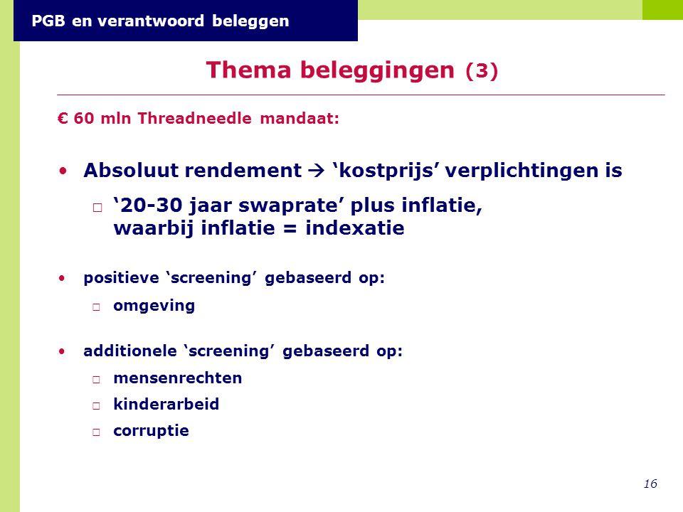 € 60 mln Threadneedle mandaat: Absoluut rendement  'kostprijs' verplichtingen is □'20-30 jaar swaprate' plus inflatie, waarbij inflatie = indexatie p