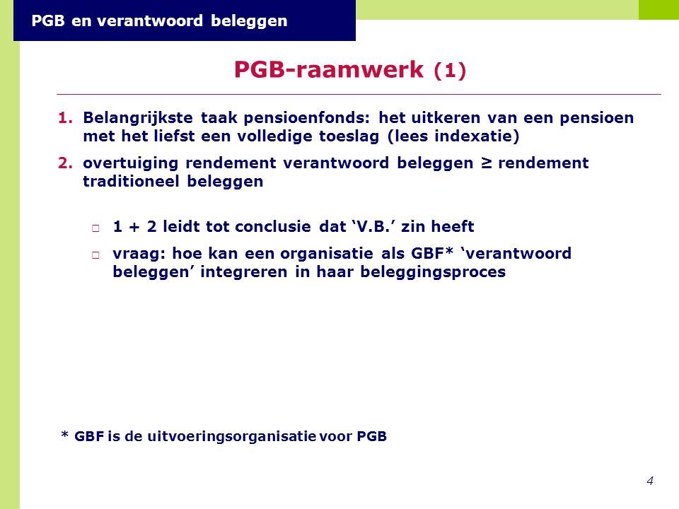 1.Belangrijkste taak pensioenfonds: het uitkeren van een pensioen met het liefst een volledige toeslag (lees indexatie) 2.overtuiging rendement verantwoord beleggen ≥ rendement traditioneel beleggen □1 + 2 leidt tot conclusie dat 'V.B.' zin heeft □vraag: hoe kan een organisatie als GBF* 'verantwoord beleggen' integreren in haar beleggingsproces 4 PGB-raamwerk (1) * GBF is de uitvoeringsorganisatie voor PGB PGB en verantwoord beleggen