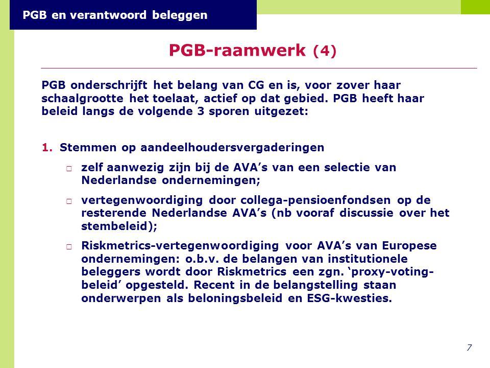 7 PGB-raamwerk (4) PGB en verantwoord beleggen 1.Stemmen op aandeelhoudersvergaderingen □zelf aanwezig zijn bij de AVA's van een selectie van Nederlandse ondernemingen; □vertegenwoordiging door collega-pensioenfondsen op de resterende Nederlandse AVA's (nb vooraf discussie over het stembeleid); □Riskmetrics-vertegenwoordiging voor AVA's van Europese ondernemingen: o.b.v.