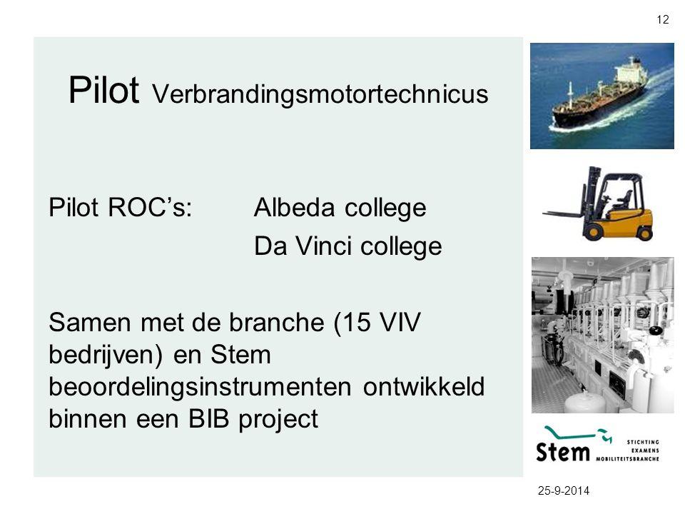 25-9-2014 12 Pilot Verbrandingsmotortechnicus Pilot ROC's:Albeda college Da Vinci college Samen met de branche (15 VIV bedrijven) en Stem beoordelings