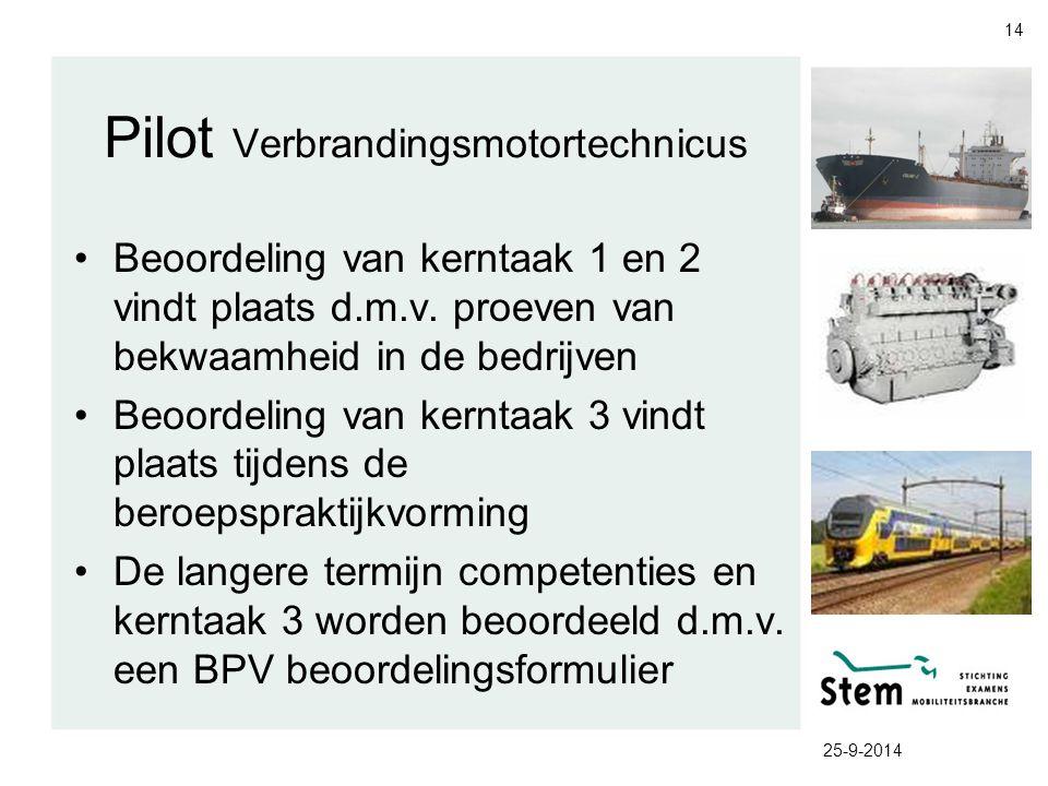 Pilot Verbrandingsmotortechnicus Beoordeling van kerntaak 1 en 2 vindt plaats d.m.v. proeven van bekwaamheid in de bedrijven Beoordeling van kerntaak