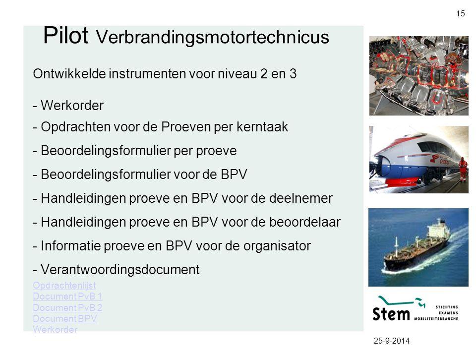 25-9-2014 15 Pilot Verbrandingsmotortechnicus Ontwikkelde instrumenten voor niveau 2 en 3 - Werkorder - Opdrachten voor de Proeven per kerntaak - Beoo