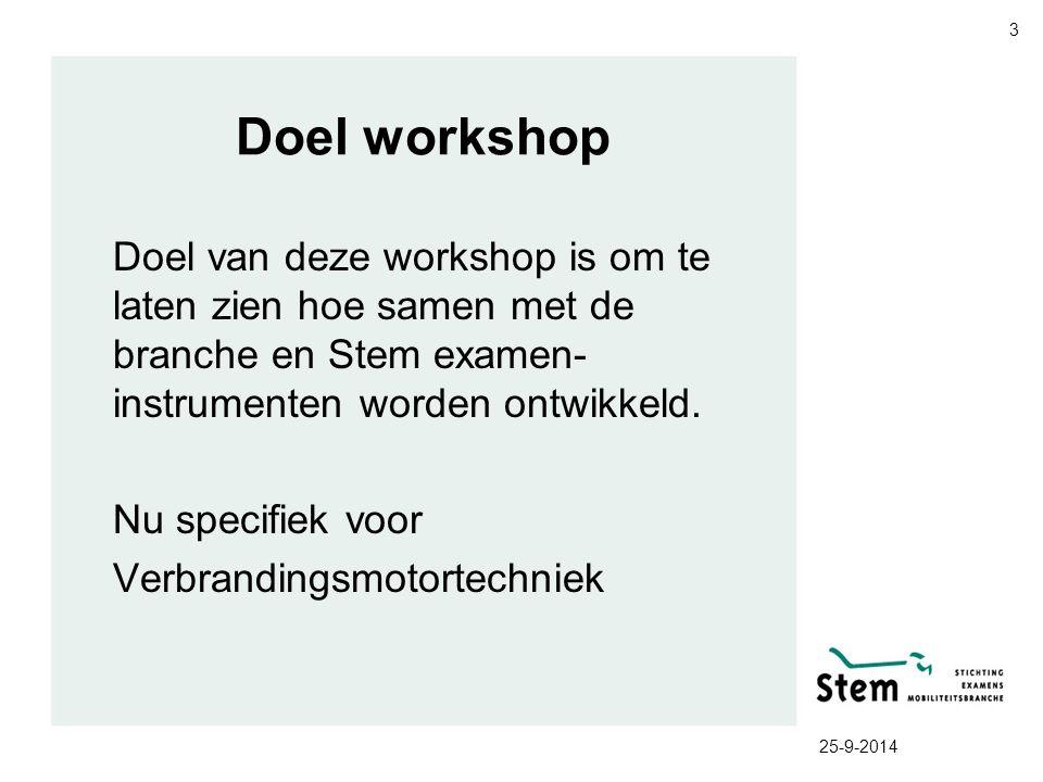 Doel workshop Doel van deze workshop is om te laten zien hoe samen met de branche en Stem examen- instrumenten worden ontwikkeld. Nu specifiek voor Ve