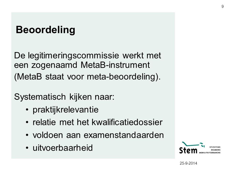 25-9-2014 9 Beoordeling De legitimeringscommissie werkt met een zogenaamd MetaB-instrument (MetaB staat voor meta-beoordeling). Systematisch kijken na