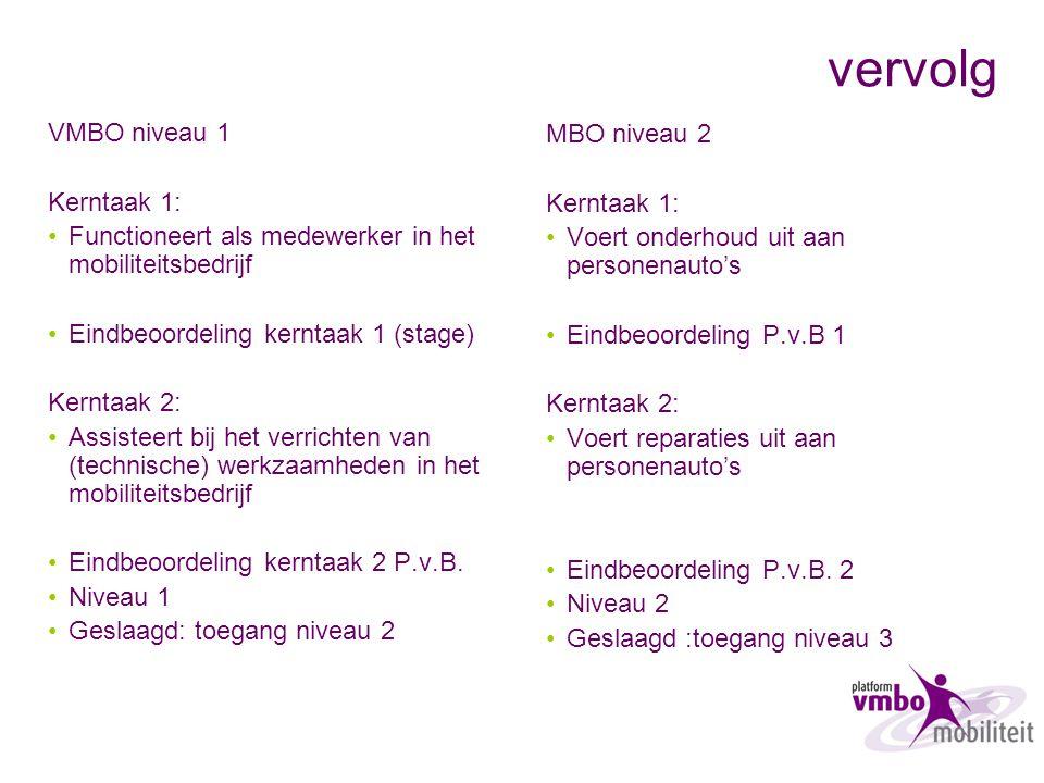 vervolg VMBO niveau 1 Kerntaak 1: Functioneert als medewerker in het mobiliteitsbedrijf Eindbeoordeling kerntaak 1 (stage) Kerntaak 2: Assisteert bij