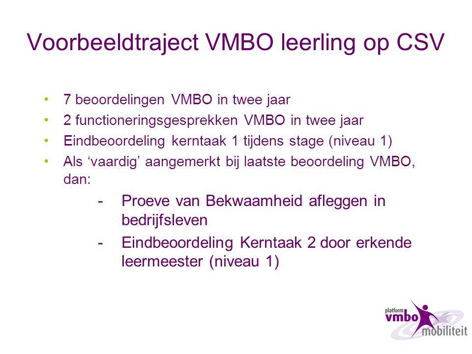 Voorbeeldtraject VMBO leerling op CSV 7 beoordelingen VMBO in twee jaar 2 functioneringsgesprekken VMBO in twee jaar Eindbeoordeling kerntaak 1 tijden