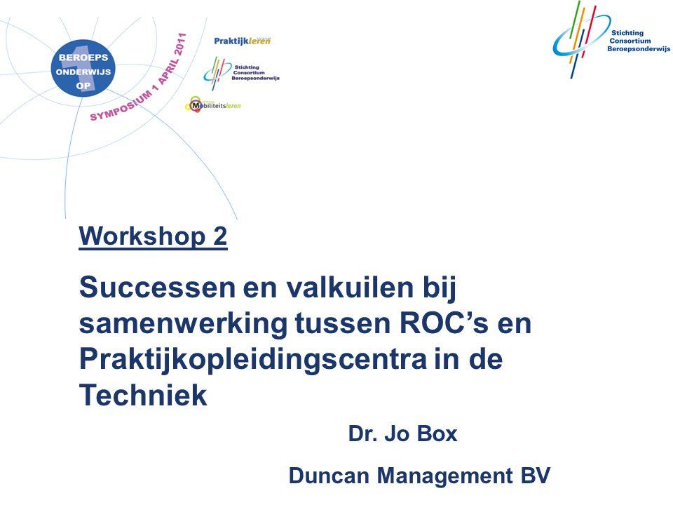 Workshop 2 Successen en valkuilen bij samenwerking tussen ROC's en Praktijkopleidingscentra in de Techniek Dr.