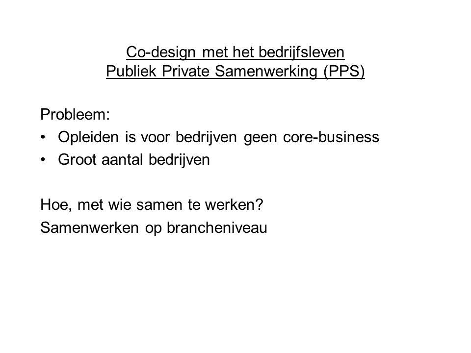Co-design met het bedrijfsleven Publiek Private Samenwerking (PPS) Probleem: Opleiden is voor bedrijven geen core-business Groot aantal bedrijven Hoe, met wie samen te werken.