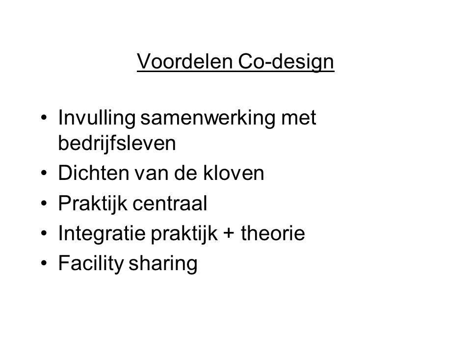 Voordelen Co-design Invulling samenwerking met bedrijfsleven Dichten van de kloven Praktijk centraal Integratie praktijk + theorie Facility sharing
