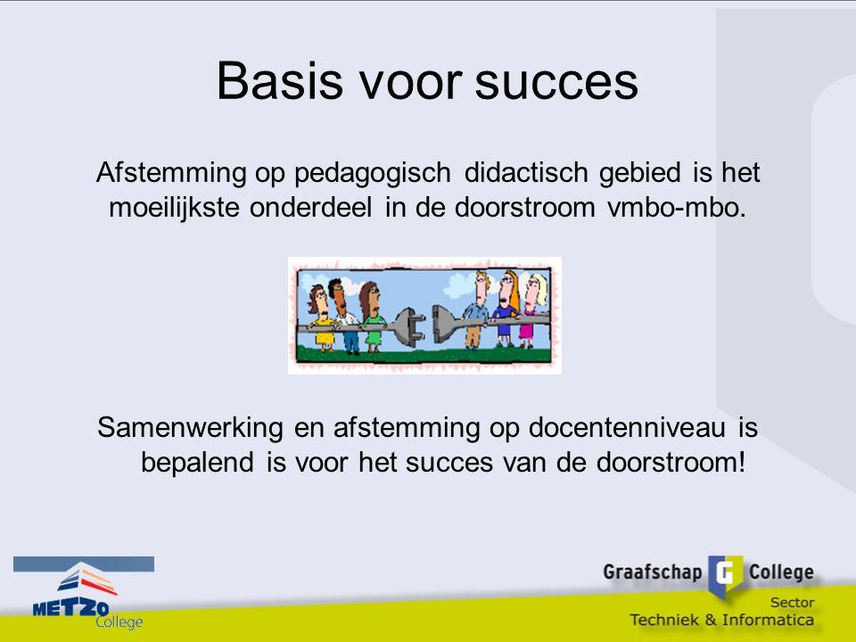 Basis voor succes Afstemming op pedagogisch didactisch gebied is het moeilijkste onderdeel in de doorstroom vmbo-mbo. Samenwerking en afstemming op do