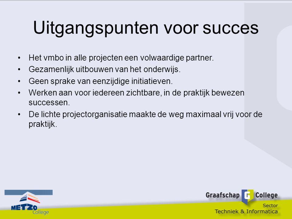 Uitgangspunten voor succes Het vmbo in alle projecten een volwaardige partner. Gezamenlijk uitbouwen van het onderwijs. Geen sprake van eenzijdige ini