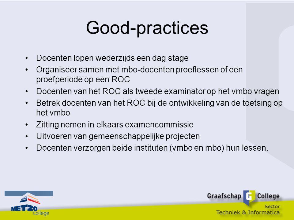 Good-practices Docenten lopen wederzijds een dag stage Organiseer samen met mbo-docenten proeflessen of een proefperiode op een ROC Docenten van het R