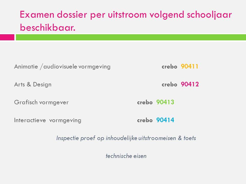 Examen dossier per uitstroom volgend schooljaar beschikbaar. Animatie /audiovisuele vormgeving crebo 90411 Arts & Design crebo 90412 Grafisch vormgeve