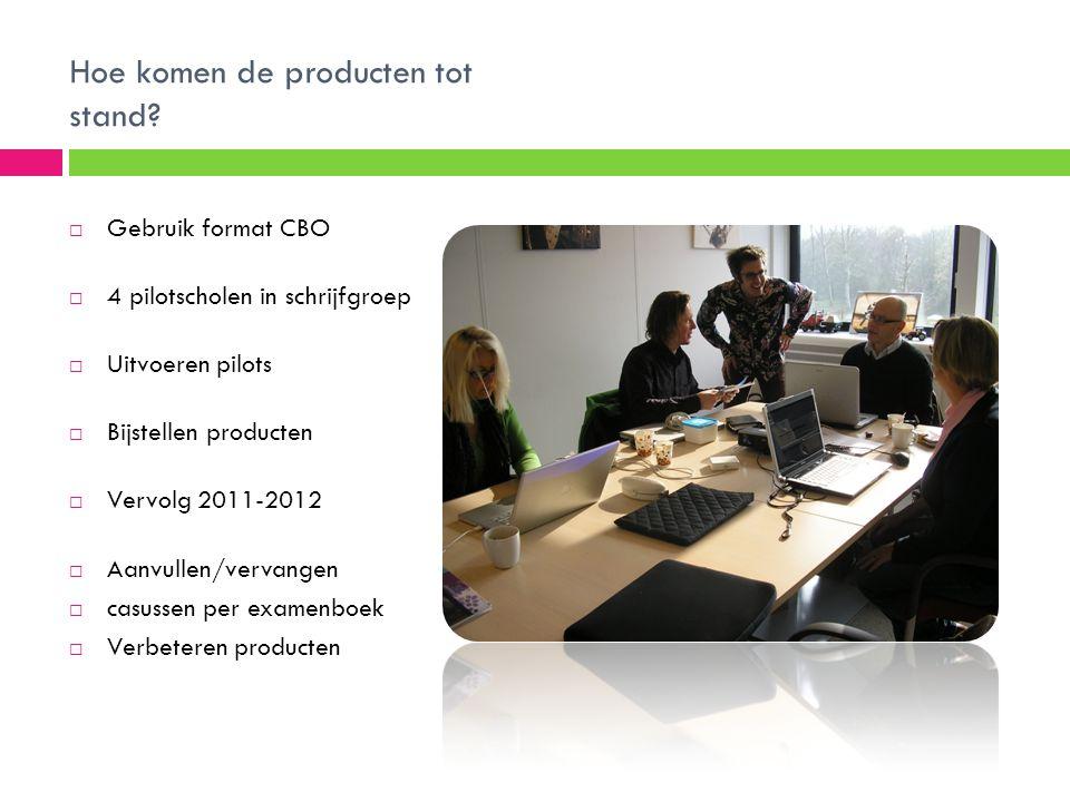 Hoe komen de producten tot stand?  Gebruik format CBO  4 pilotscholen in schrijfgroep  Uitvoeren pilots  Bijstellen producten  Vervolg 2011-2012