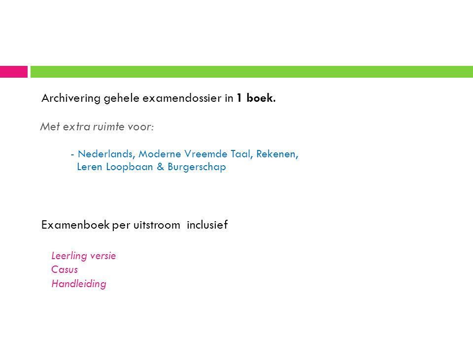 Archivering gehele examendossier in 1 boek. Met extra ruimte voor: - Nederlands, Moderne Vreemde Taal, Rekenen, Leren Loopbaan & Burgerschap Examenboe