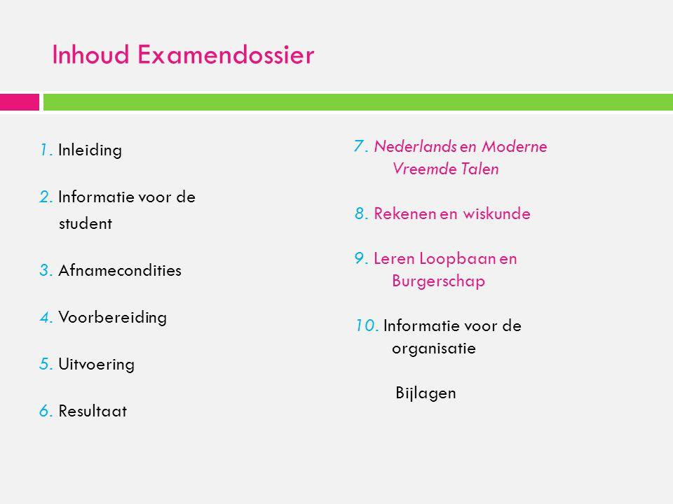 Inhoud Examendossier 1. Inleiding 2. Informatie voor de student 3. Afnamecondities 4. Voorbereiding 5. Uitvoering 6. Resultaat 7. Nederlands en Modern