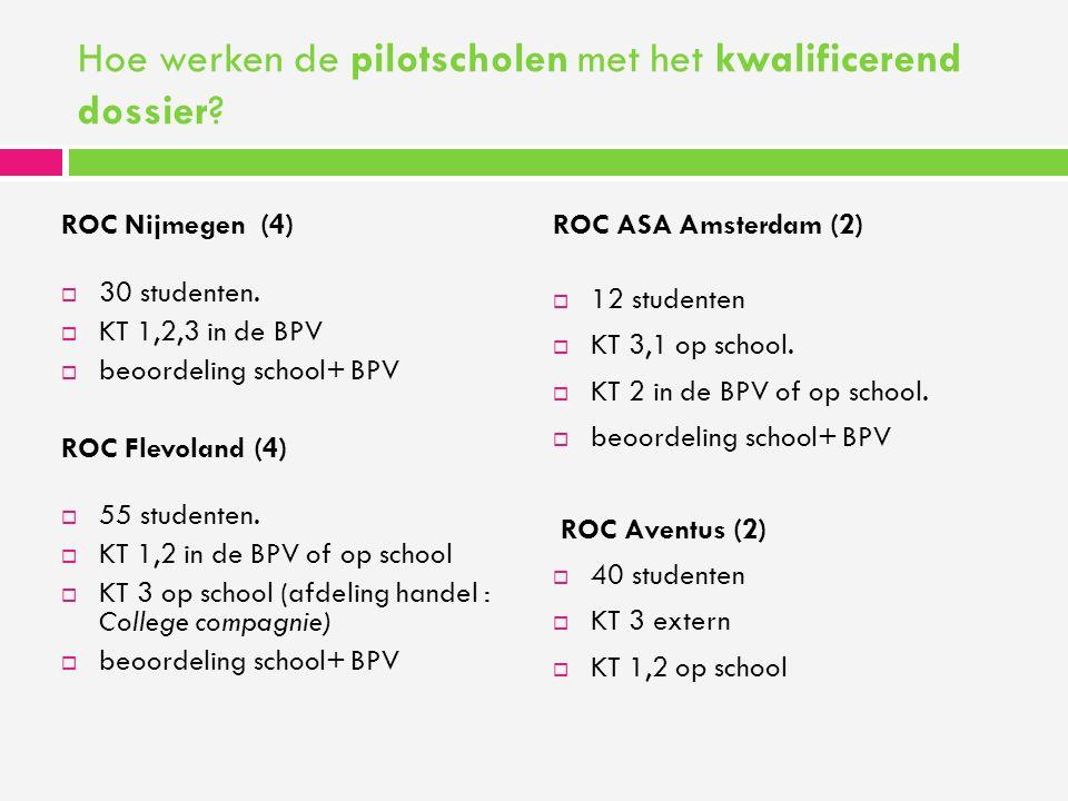 Hoe werken de pilotscholen met het kwalificerend dossier? ROC Nijmegen (4)  30 studenten.  KT 1,2,3 in de BPV  beoordeling school+ BPV ROC Flevolan