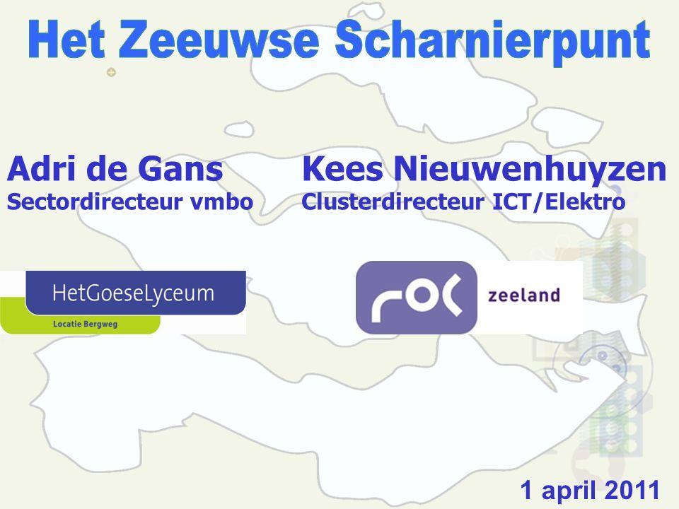 Adri de Gans Sectordirecteur vmbo 1 april 2011 Kees Nieuwenhuyzen Clusterdirecteur ICT/Elektro