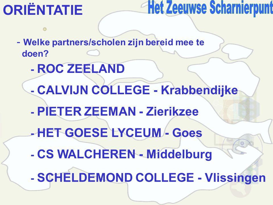 ORIËNTATIE - Welke partners/scholen zijn bereid mee te doen.