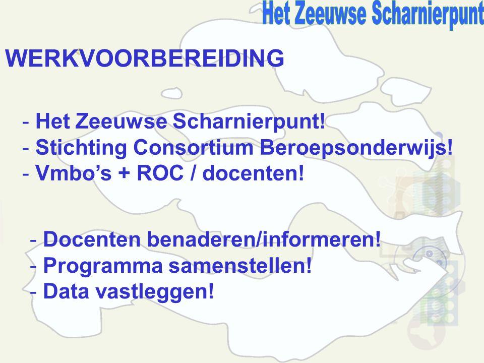 WERKVOORBEREIDING - Het Zeeuwse Scharnierpunt. - Stichting Consortium Beroepsonderwijs.