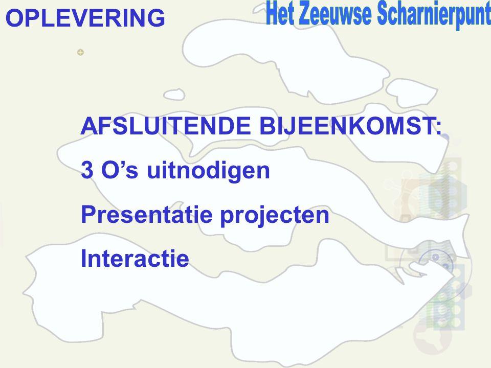 OPLEVERING AFSLUITENDE BIJEENKOMST: 3 O's uitnodigen Presentatie projecten Interactie
