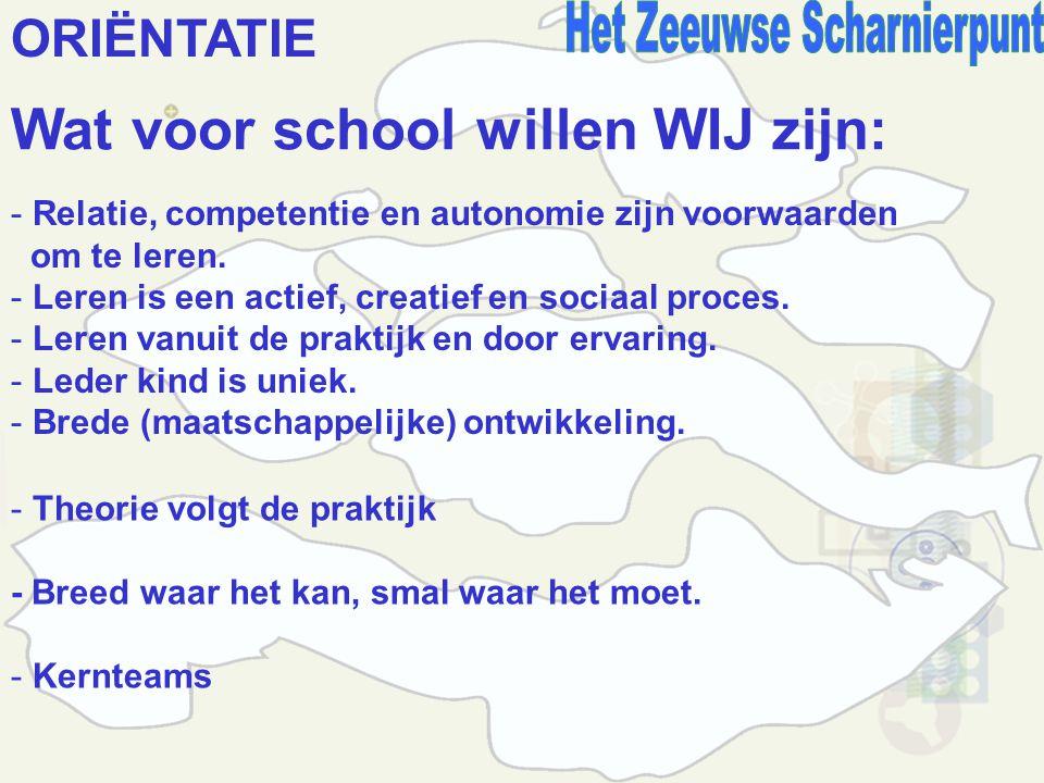 ORIËNTATIE Wat voor school willen WIJ zijn: - Relatie, competentie en autonomie zijn voorwaarden om te leren.